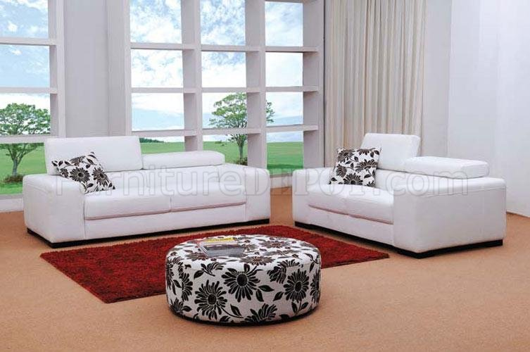 Fabric Modern Living Room Set Miami White - modern living room set