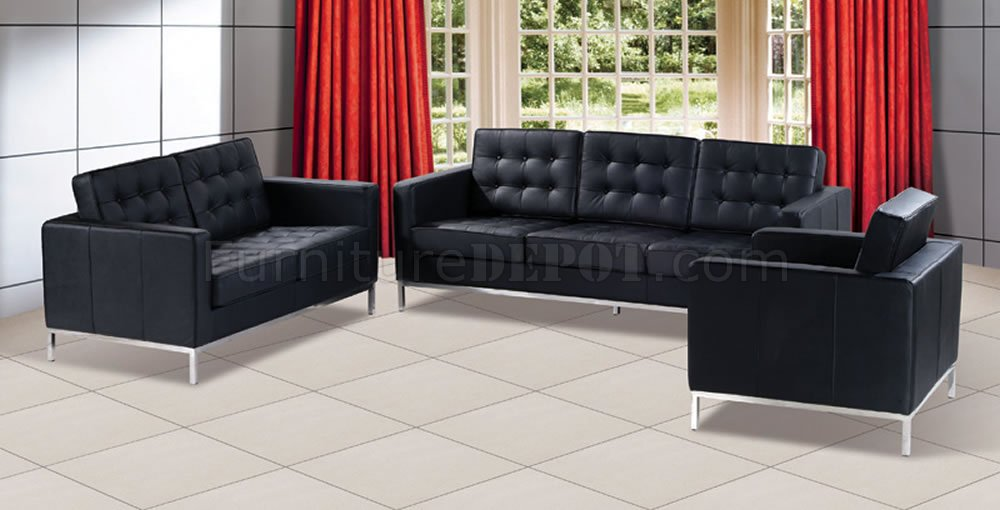 Black Button-Tufted Leather Living Room Set with Metal Legs - black living room set