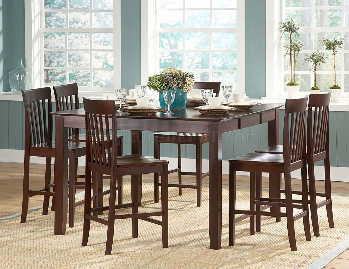 warm cherry finish modern counter height dining table woptions p kitchen table height