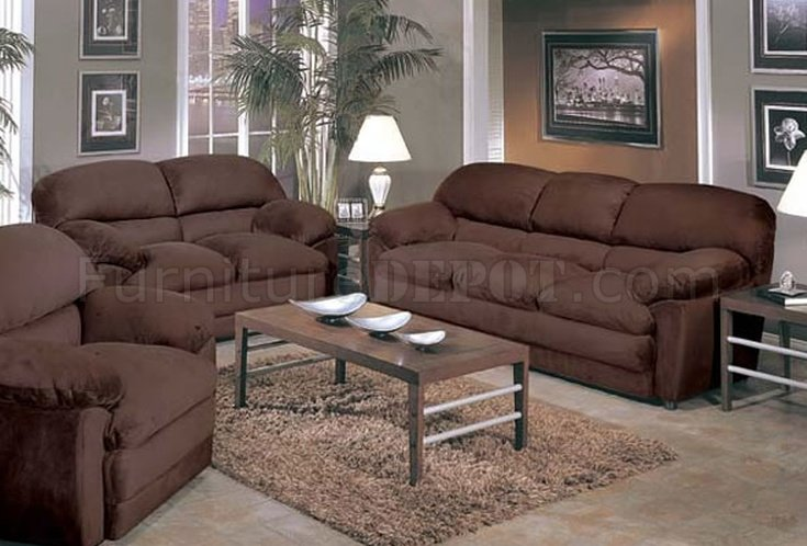 Espresso Micro Suede Oversized Sofa \ Loveseat Set - oversized living room sets