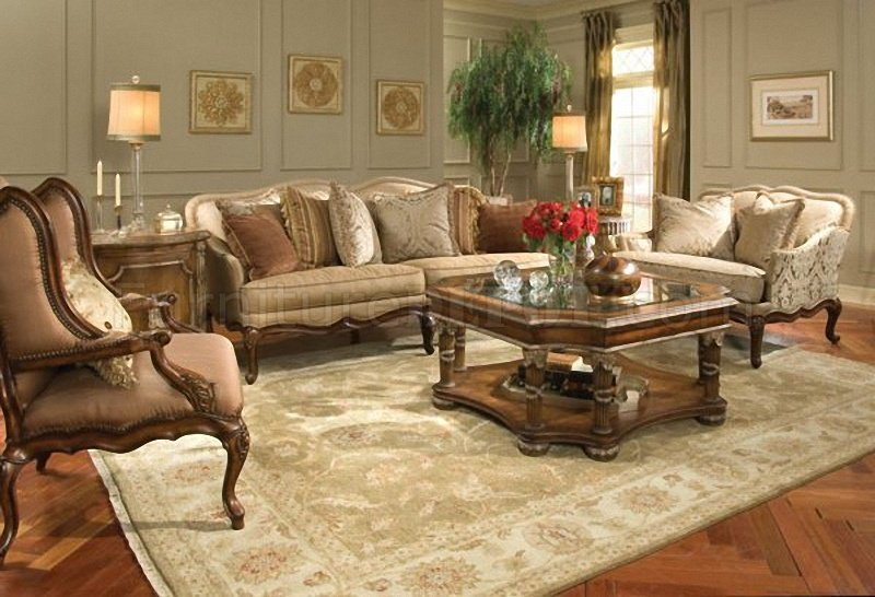 Classic Cherry Wood Finish Living Room Sofa w\/Hand-Carved Frame - wood living room furniture
