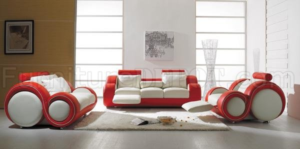 3 Piece Stylish Modern Leather Living Room Set T27 Red and White - all white living room set