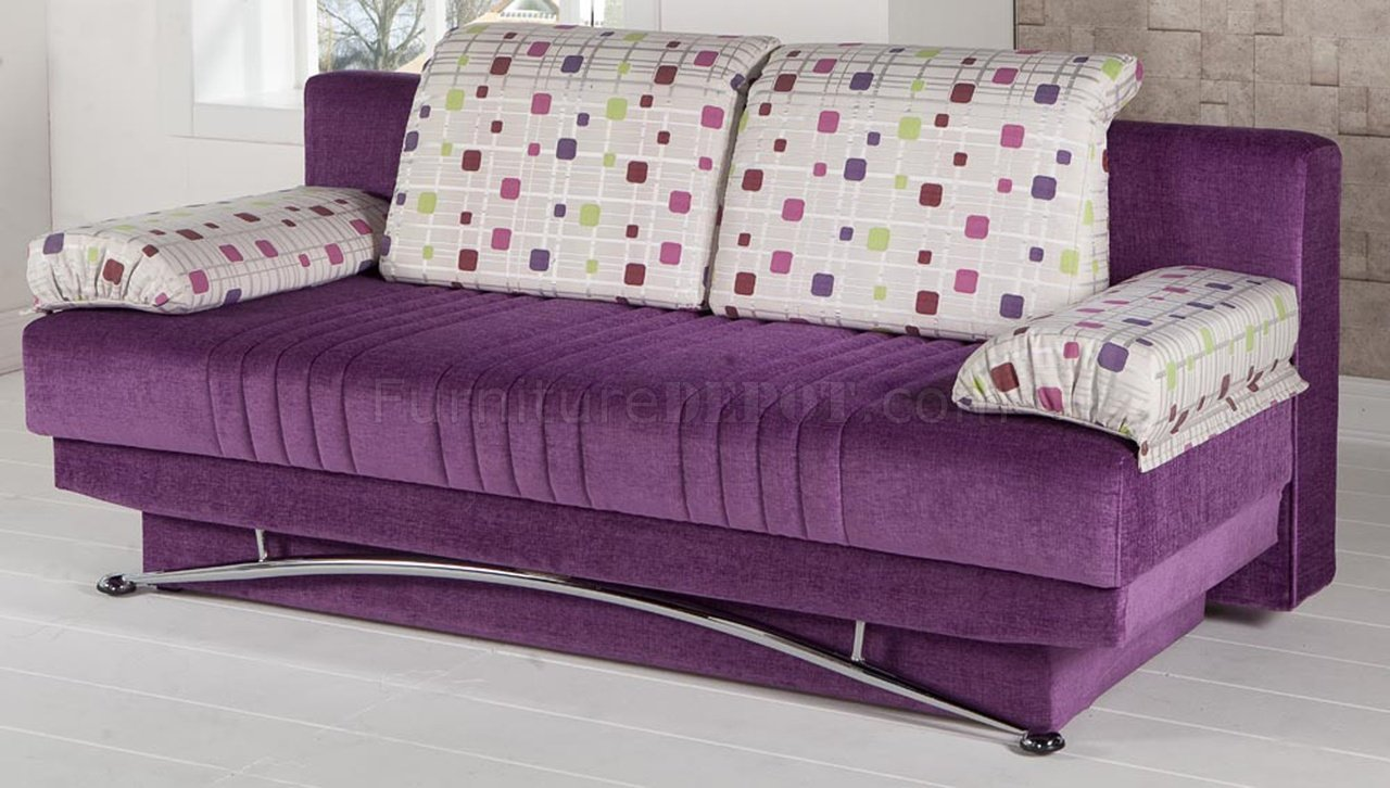 Fantasy Corbin Purple Sofa Bed By Sunset In Microfiber W