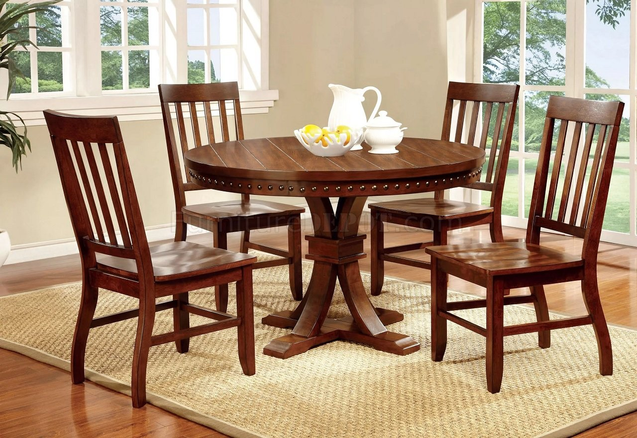 Foster I Cm3437rt Round Dining Table In Dark Oak W Options
