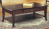 Classic Dark Brown Coffee Table & End Tables 3PC Set w/Drawer