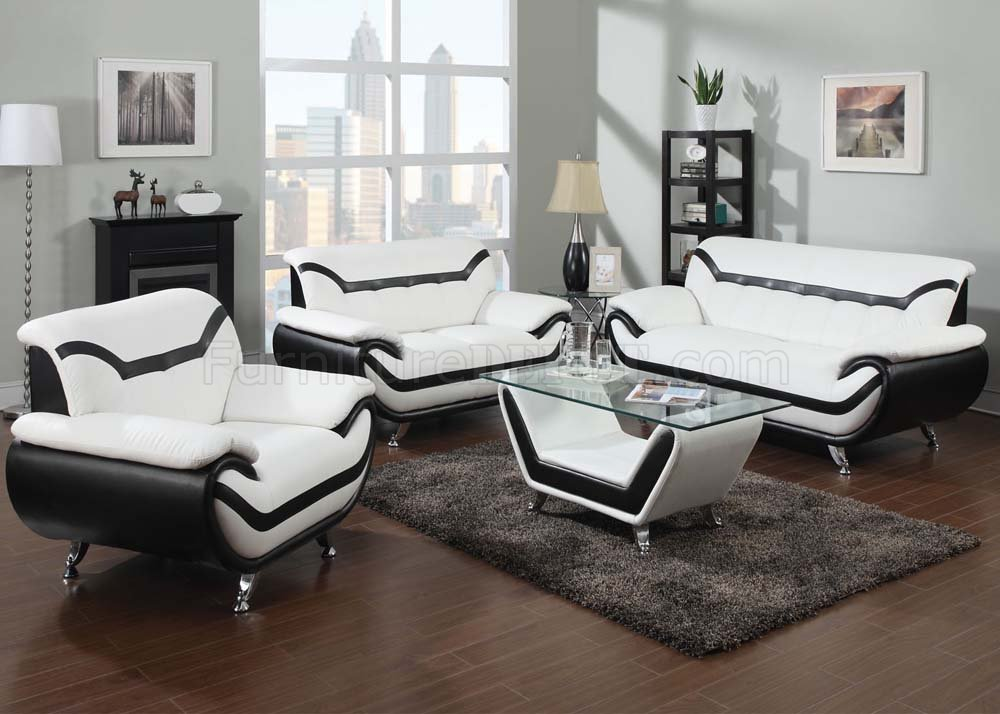 51155 Rozene Sofa In White Black Bonded Leather By Acme