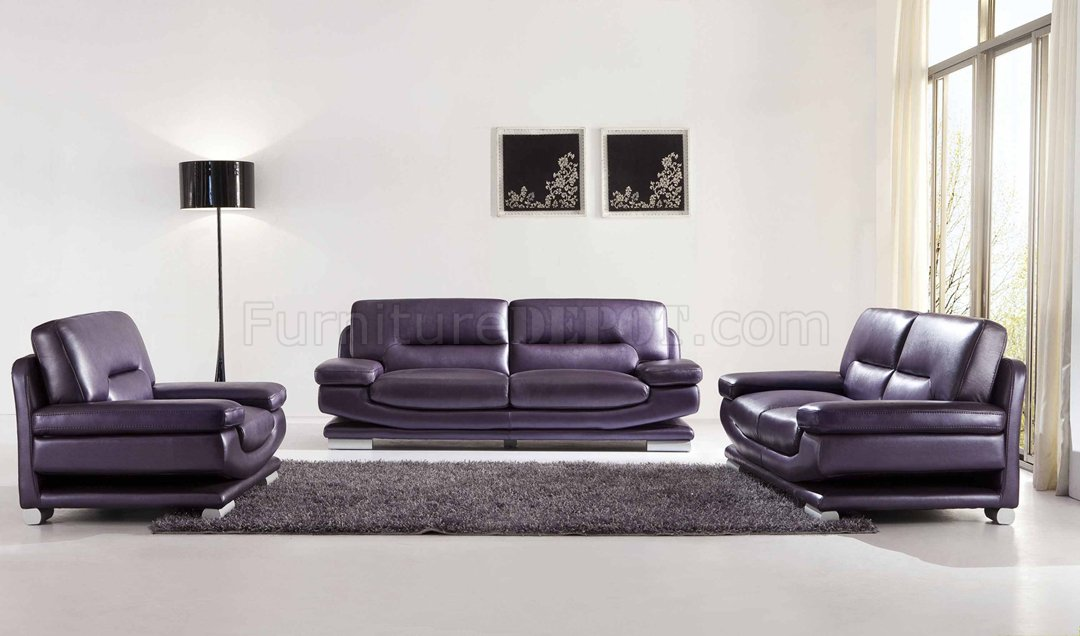 2757 Full Leather Purple Sofa by ESF w\/Optional Loveseat \ Chair - purple living room set