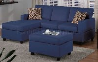 Navy Microfiber Plush Casual Small Sectional Sofa w/Ottoman