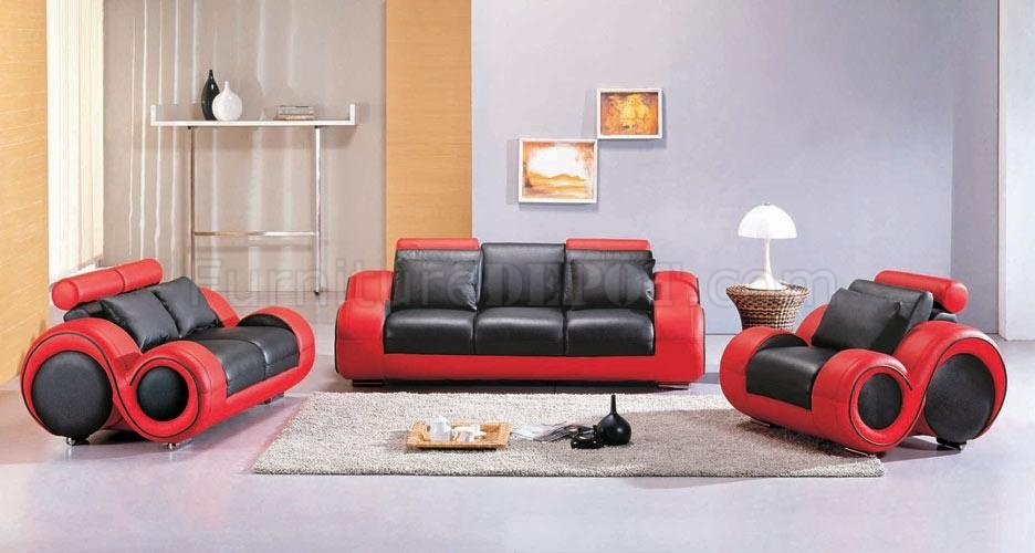 Black \ Red Two-Tone Leather 3Pc Modern Living Room Set - black living room set