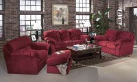Burgundy Fabric Transitional Living Room w/Sewn-on Arm Pillows