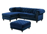 Sabrina Sectional Sofa 667 in Navy Velvet Fabric by Meridian