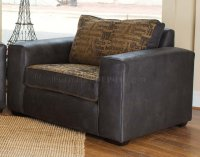 Fabric & Leather Modern Living Room Sofa & Large Chair Set
