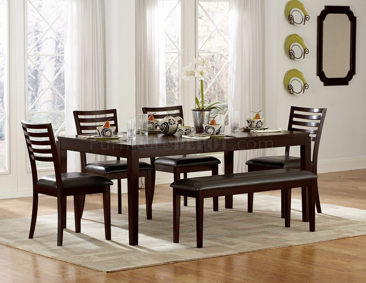 espresso finish modern dining table woptional chairs bench p espresso kitchen table set