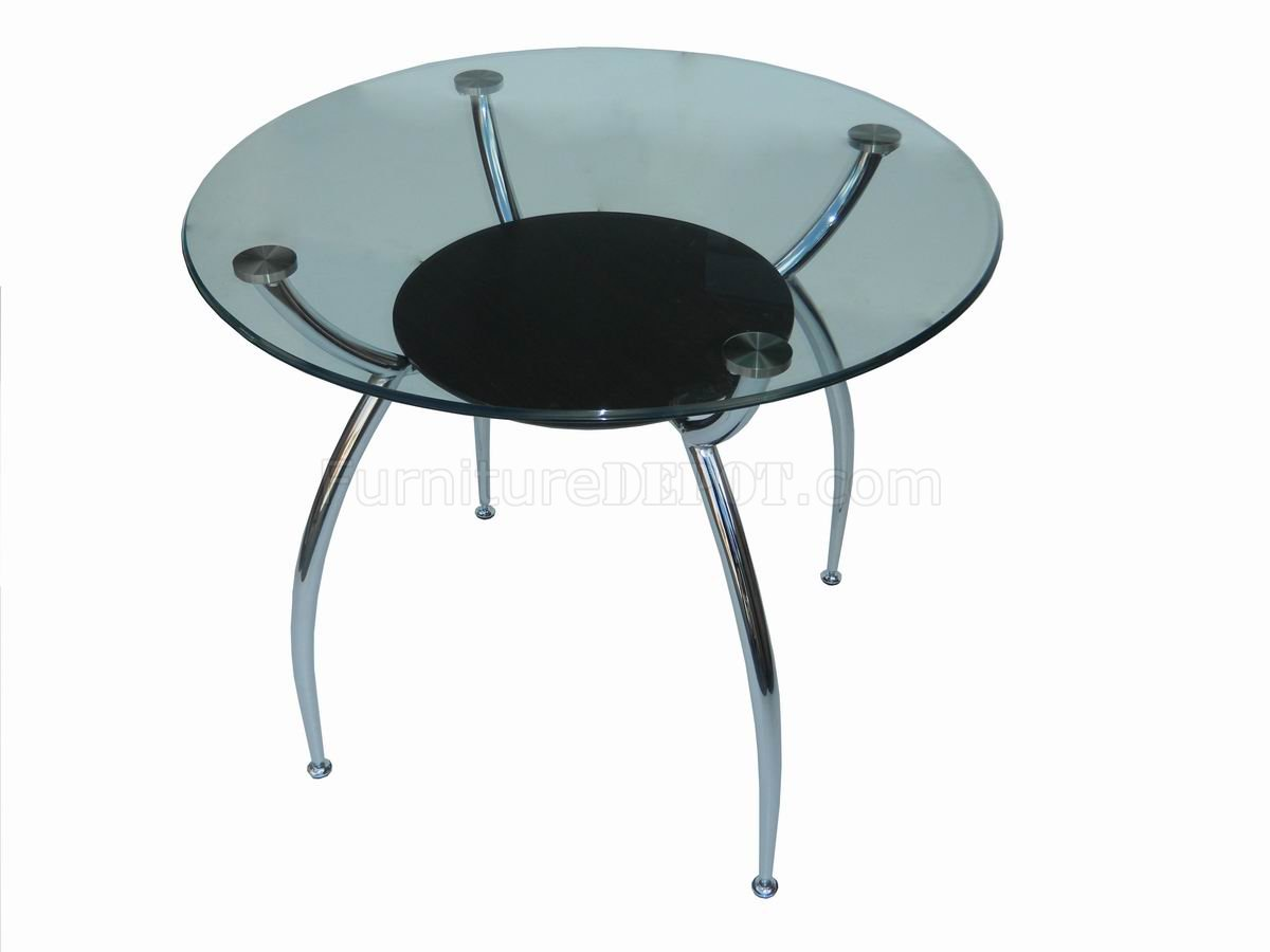 Glass Top Metal Base Modern Dining Table W Shelf