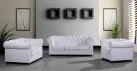 Leather Ultra Modern 3PC Living Room Set Paris 3 White
