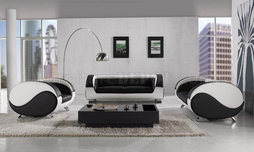 Black \ White Leather 3Pc Modern Artistic Living Room Set - black living room set