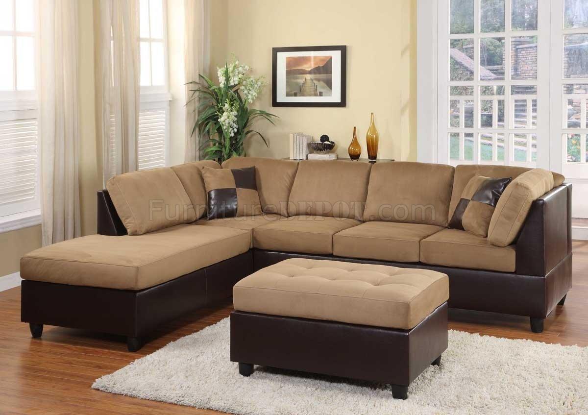 Light Brown Microfiber Modern Sectional Sofa w/Ottoman