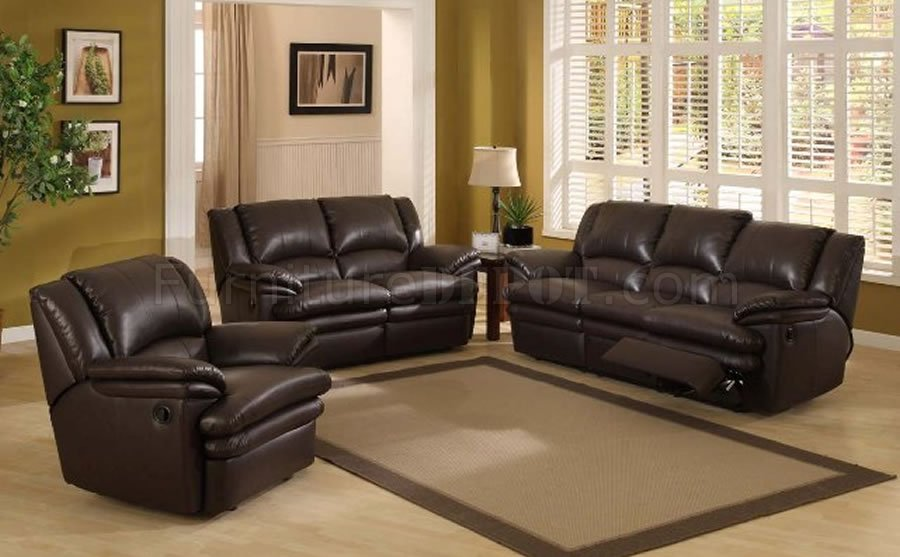 Dark Chocolate Color Modern Recliner Living Room Set - living room sets with recliners