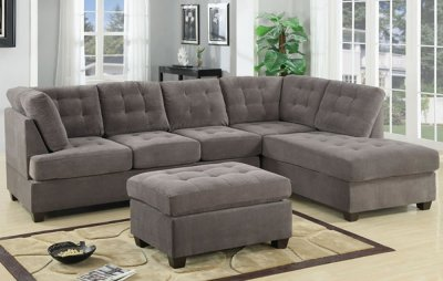 F7139 Reversible Tufted Sectional In Charcoal Suede By Poundex