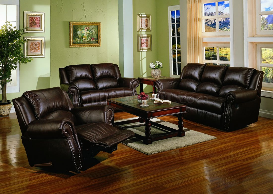 Dark Chocolate Brown Bonded Leather Living Room w/Recliners