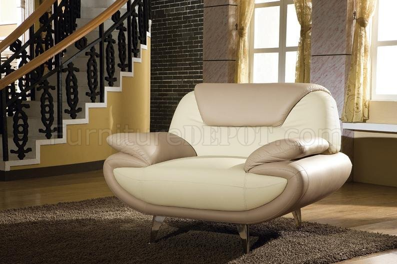 Light Brown \ Beige Two-Tone Leather 3PC Living Room Set 2812 - oversized living room sets
