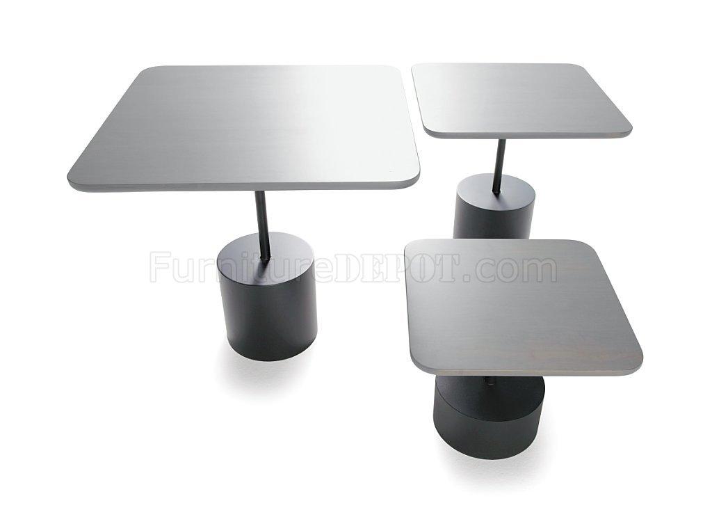 Light Grey Finish Modern Square Coffee Table Set w/Metal Base