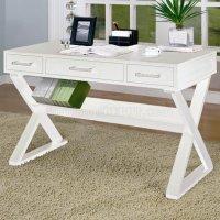 White Finish Modern Home Office Desk w/Criss-Cross Legs