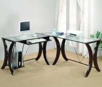 Clear Glass Top & Espresso Base Modern Home Office Desk