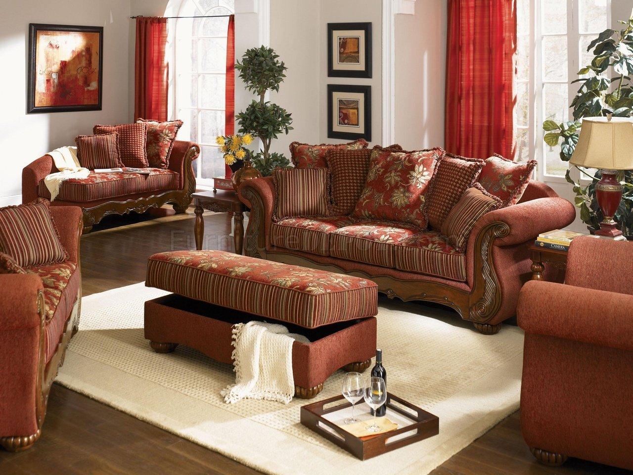 Chenille Fabric Traditional Living Room Savona U142 Red