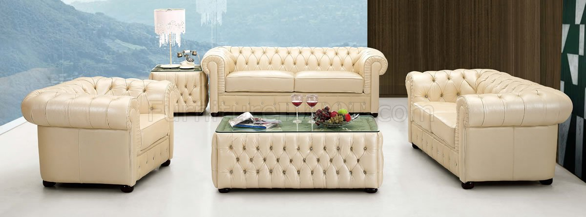 Light Beige Genuine Tufted Leather Formal Living Room Sofa - formal living room chairs