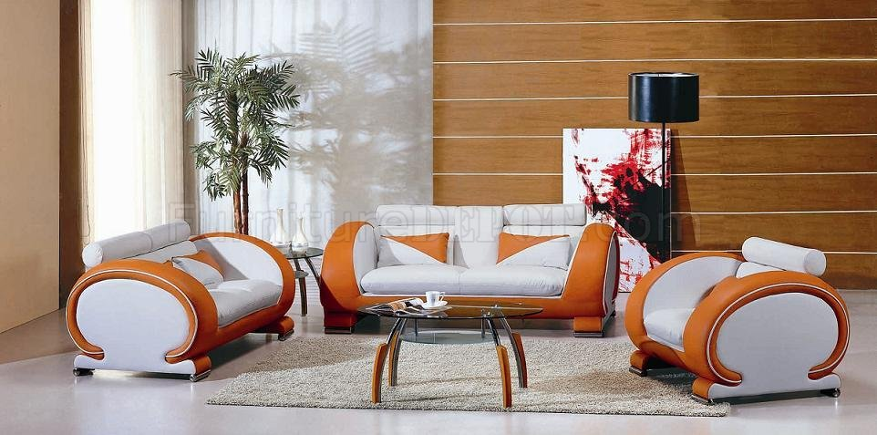 Two-Tone Leather Modern 3 Piece Living Room Set 7391 White Orange - two piece living room set