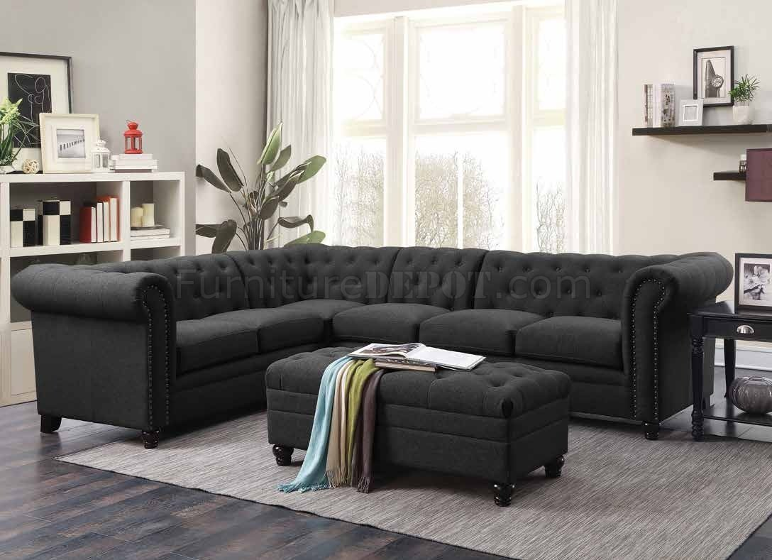 Roy Sectional Sofa 500292 In Grey Fabric By Coaster W Options