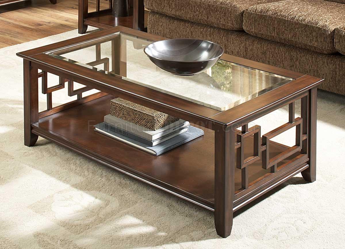 Cherry Finish Modern Coffee Table W Glass Insert Top