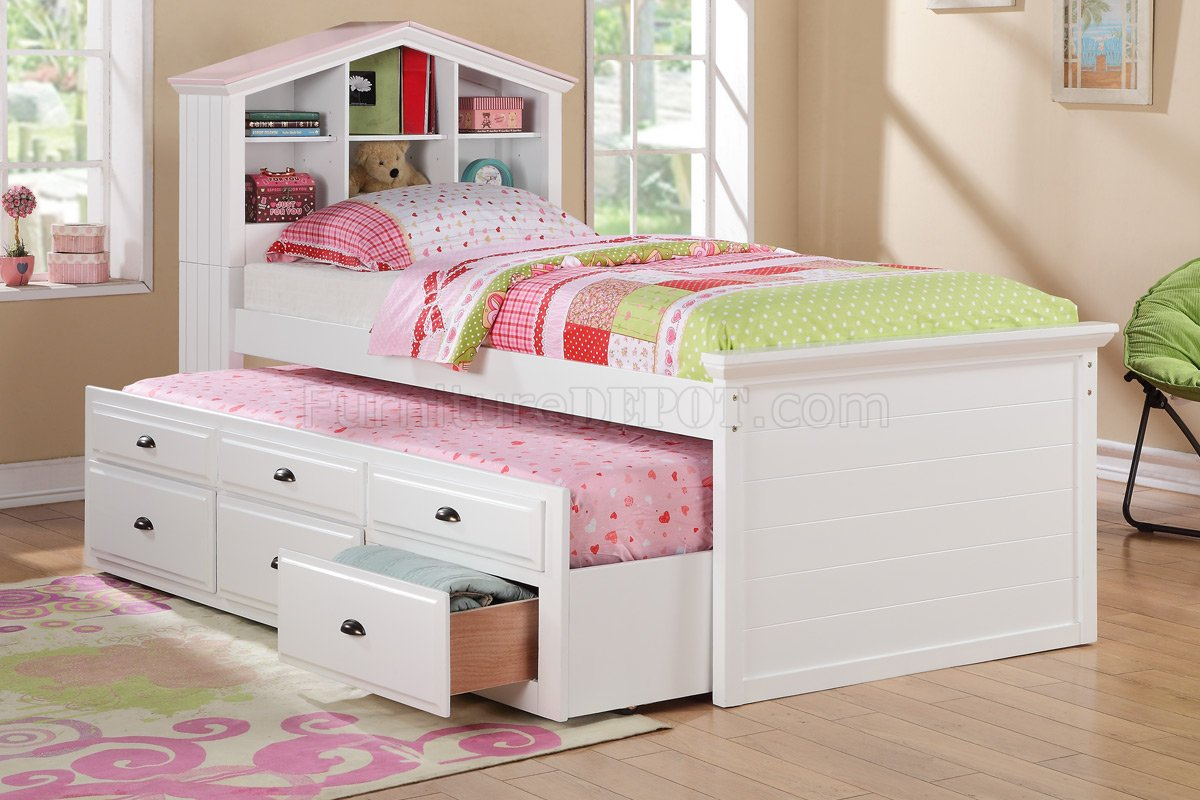 F9223 Kids Bedroom 3pc Set By Poundex In White W Trundle Bed