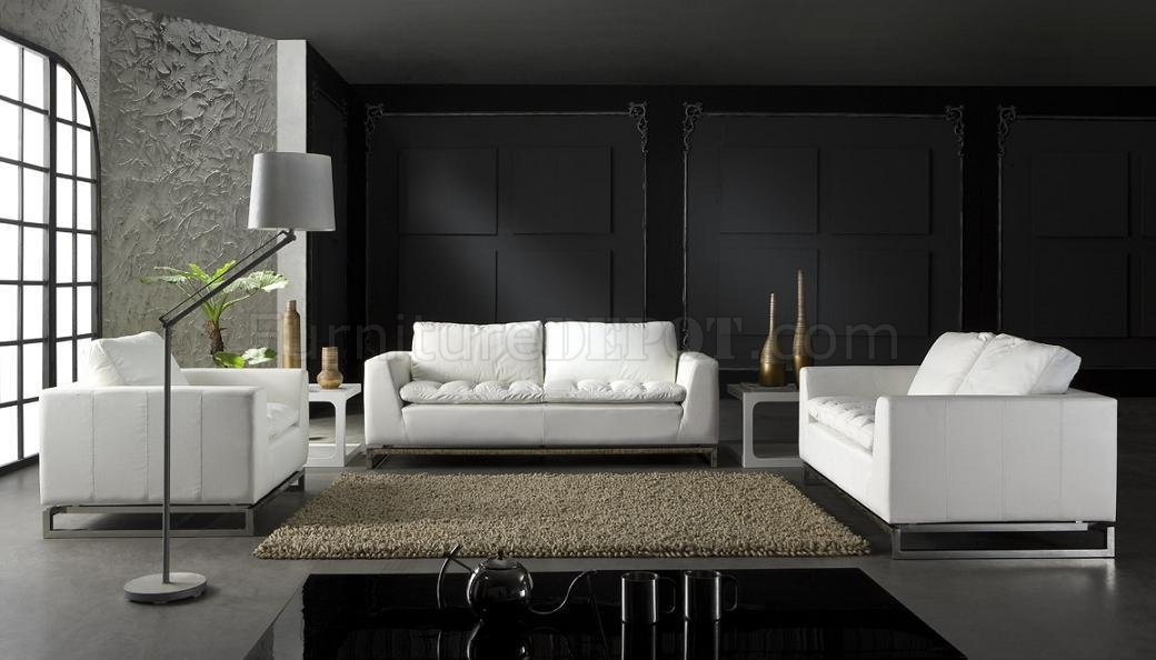 Top Grain Leather 3 piece Modern Living Room Set Manhattan white - black living room set