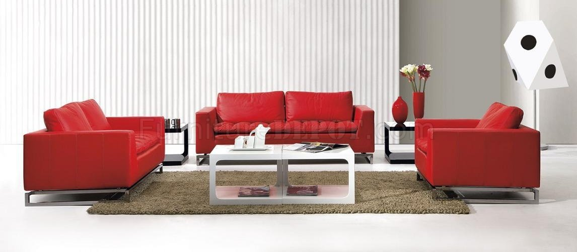 Top Grain Leather 3 Piece Modern Living Room Set Manhattan Red - red and black living room set