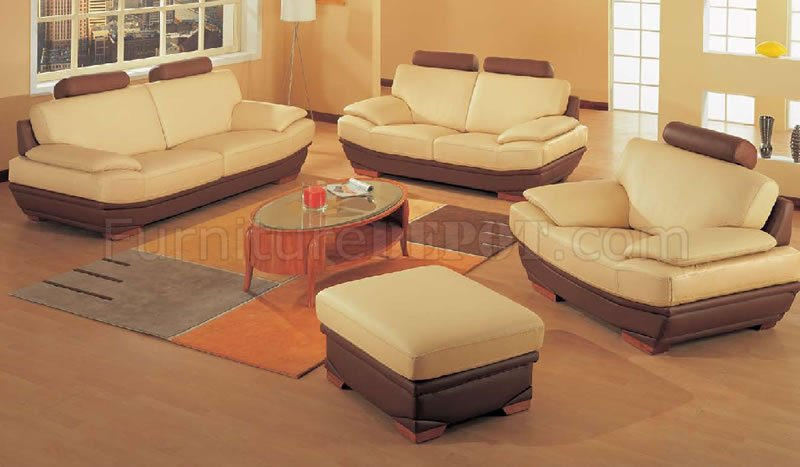 Oversized Modern Two-Tone Leather Living Room Set - oversized living room sets