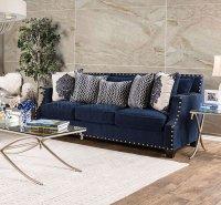 Cornelia SM3071 Sofa in Navy Fabric w/Options