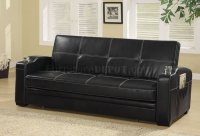 Black Vinyl Modern Sofa Bed Convertible w/White Stitching