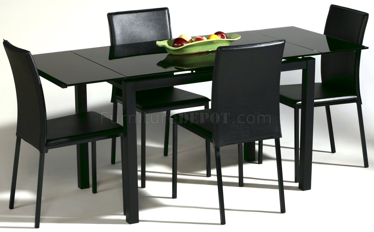 black glass top modern dining table woptional chairs p glass top kitchen table