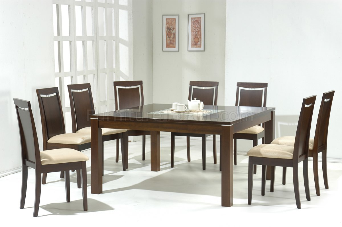 dark walnut modern dining table wglass inlay optional chairs p modern kitchen table sets