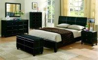 Black Bycast Leather Contemporary 5Pc Bedroom Set w/Stitchings