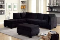 Lomma Sectional Sofa & Ottoman Set CM6316 in Black Fabric