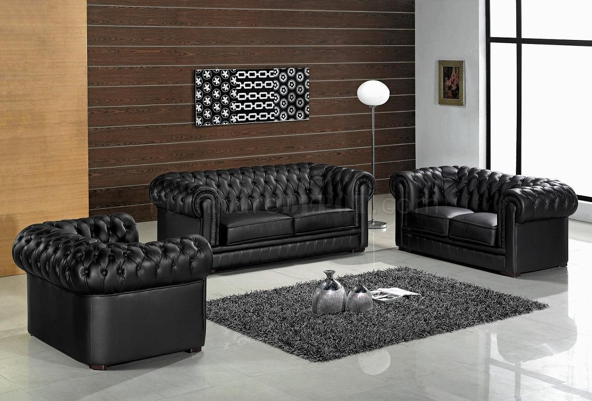 Black leather ultra modern 3pc living room set w wood legs