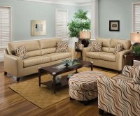 Taupe Color Bonded Leather Modern Living Room w/Accent Pillows