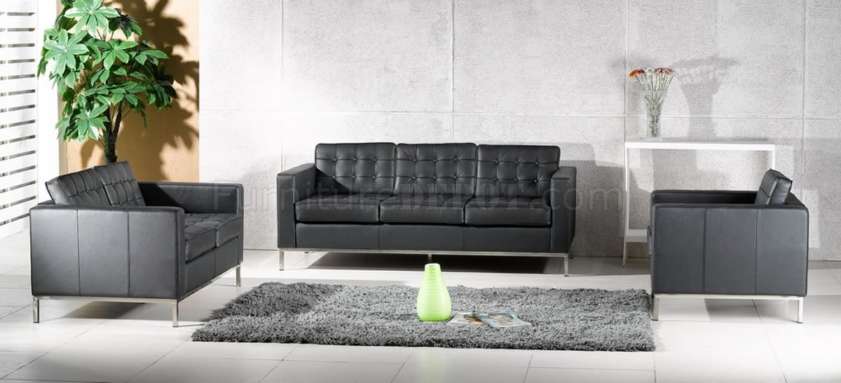 Full Leather Button Tufted 4Pc Living Room Set