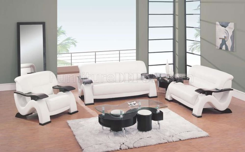 Modern White Leather Living Room Sofa w\/Cappuccino Finish Arms - modern living room set