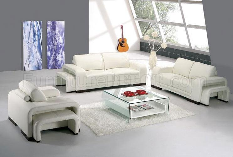 White Leather Modern 3 Piece Living Room Set A32 - 3 piece living room furniture set