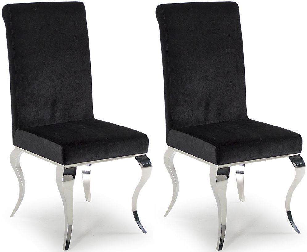 Tivoli Black Velvet With Polished Metal Dining Chair Pair