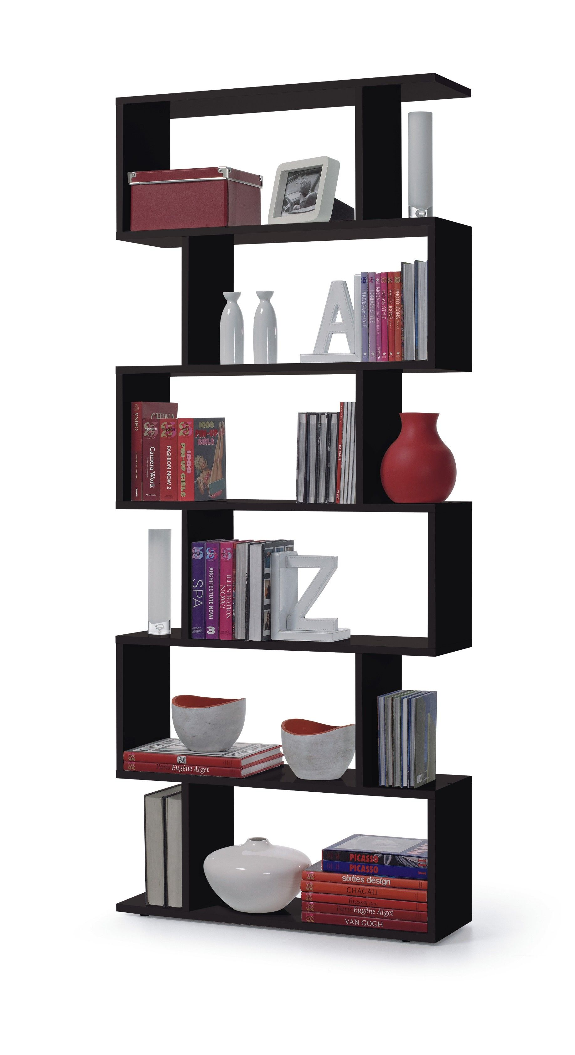 Venice Open Back Black Gloss Bookcase R2440
